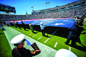 Source: Wikimedia Commons Service members, firefighters and police officers participate in a ceremony commemorating the 10th anniversary of the Sept. 11, 2001 terrorist attacks before a Jacksonville Jaguars NFL game. More than 300 sailors from Naval Air Station Jacksonville, Naval Station Mayport and Naval Submarine Base Kings Bay participated in a pre-game and halftime performance.