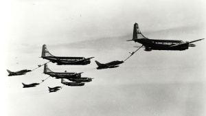 Source: Wikimedia Commons A squadron of KC-97G Stratotankers refuels fighter planes in Air National Guard exercises in 1964.
