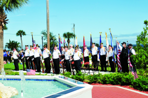 Photo courtesy of George Von Kantor Veterans Day was commemorated in Veterans Park, Sebastian, on Nov. 11. Here, combined members of Sebastian's Veterans of Foreign Wars, American Legion and their auxiliaries present the Colors.  Collectively, they are known as the Sebastian Area Honor Guard.