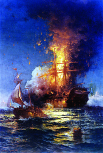Source: Wikimedia Commons This painting depicts the USS Philadelphia, previously captured by the Tripolitans, ablaze after she was boarded by Stephen Decatur and 60 men and set afire, making their escape in the ketch Intrepid, depicted in the foreground, in 1804.