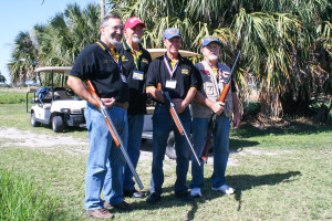 File photo by Patrick McCallister  The VVA 1041's third annual Veterans Fun Shoot — South Florida Shooting Club, Palm City — drew 172 participants last year. From left to right are Frank Tidikis, Steve Dame, Joe Howard and Lew Jones. Tidikis and Jones are VVA Chapter 1041's treasurer and secretary, respectively. Dame was the shoot co-chair in 2014.