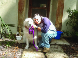Photo courtesy of Donald Ravenfeather Donald Ravenfeather spends time with his dog, Sheba. He rescued the Great Pyrenees from Big Dog Ranch in West Palm Beach. Ravenfeather was a founding member of the American Legion Post 398, Martin Correctional Facility. He's now the land manager of Beltran Peace Center 270, Old Town.