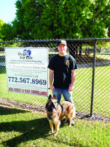 Staff photo by Mary Kemper Veteran Daniel Votrobek, Vero Beach, and his service dog, Ariel, stand outside Dogs For Life Inc., Vero Beach. Votrobek is just one of many veterans whom DFL has assisted with service-dog training since it started.