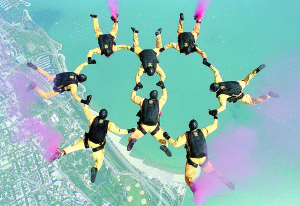 Photo courtesy of the US Army The Golden Knights perform a formation jump 10,000 feet over Hakimpt Air Force Station. The parachuting competition was part of the Military World Games in Hyderabad, India. The demonstration and competition parachute team is part of the United States Army.