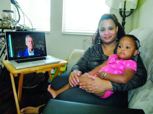 Staff photo by  Mary Kemper Sherita Douglas, a disabled Air Force veteran, shown here with her granddaughter, Jurnee Glasper, 21 months, at her Port St. Lucie home, is a certified personal development associate with the worldwide John Maxwell Intentional Living Program.