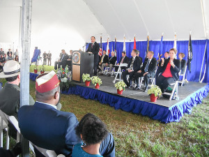 Staff photo by Mary Kemper U.S. Secretary of Veterans Affairs Robert A. McDonald addresses a capacity crowd at the Nov. 20 dedication of the Cape Canaveral National Cemetery at Scottsmoor.