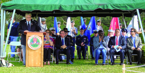 Staff photo by Mary Kemper Air Force veteran Roy Brewer, of the United Veterans of St. Lucie County, was master of ceremonies Dec. 12 at the annual Wreaths Across America tribute held at Rolling Oaks Cemetery, Port St. Lucie.