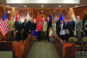 Photo courtesy of Gov. Rick Scott's press office  Gov. Rick Scott stands with inductees and representatives at the 2015 Veterans Hall of Fame ceremony. The Florida Veterans Hall of Fame Council is taking nominations for the 2016 class until the end of May.