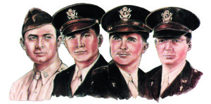 The four chaplains are Lt. George L. Fox, Methodist; Lt. Alexander D. Goode, Jewish; Lt. John P. Washington, Roman Catholic; and Lt. Clark V. Poling, Dutch Reformed. The four lost their lives trying to aid sailors on the torpedoed troop transport ship USAT Dorchester in World War II.