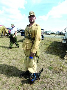 Staff photo by Mary Kemper Brandon  Taylor, a  Marine Corps veteran from Lake City, donned the vintage uniform of a World War II Afrika Korps soldier as  part of  re-enactment activities March 13 at the annual Tico Warbird Air Show in Titusville.