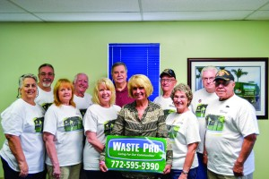 Photo courtesy of Lisa Alves Waste Pro presented a check to Gold Star Families in the amount of $1,500. From left, front, are Pam Dadiomoff, Linda B. D'Agostino, GSM Karen Zook, Darlene McLaughlin, Waste Pro division manager, GSM Linda Schumann and Manny Carcel; back, Bob Dadiomoff, Ed Cranford, Dan DePagnier, Wally Walentiny and Roy Brewer.