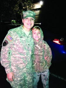 Photo courtsey of Evan Nine  Hayley Nine, left, poses with her brother Gavin. Hayley recently reported for a 400 day deployment to an undisclosed location.  She'll return in March of 2017.