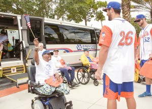 Photo courtesy of the West Palm Beach VA Medical Center Players for the St. Lucie Mets greet  veterans from the West Palm Beach VA Medical Center at last year's Vets at the Mets.