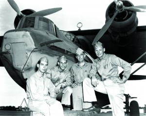 "Source: Wikimedia Commons The U.S. Navy pilots of the four Consolidated PBY-5A Catalinas of Patrol Squadron 24 (VP-24) and VP-51 that flew the torpedo attack mission against the Japanese fleet's Midway Occupation Force during the night of 3-4 June 1942. Pictured, from left: Lt. (jg) Douglas C. Davis, of VP-24; Ensign Allan Rothenberg, of VP-51; Lt. William L. Richards, Executive Officer of Patrol Squadron 44 (VP-44), who flew in a VP-24 aircraft on this mission; and Ensign Gaylord D. Propst, of VP-24. Richards hit the Japanese oil tanker Akebono Maru, flying PBY ""24-P-12"". This was the only successful air-launched torpedo attack by the U.S. during the entire Battle of Midway."