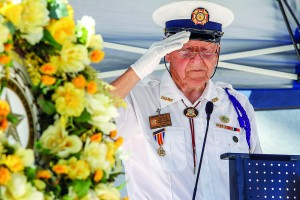 FIle Photo John Vale, chaplain for VFW Post 1032 Hobe Sound, salutes in honor of the 31 names their chapter has lost in the past year during a previous Memorial Day remembrance ceremony in Stuart.