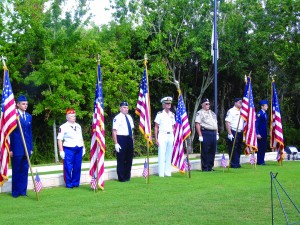 Staff photo by Mary Kemper A Color Guard consisting of members of the United Veterans of St. Lucie County participated in Memorial Day ceremonies May 30 at Veterans Memorial Park, Port St. Lucie.