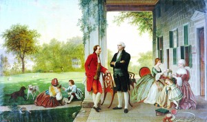 Source: Wikimedia Commons In this painting by Thomas Prichard Rossiter in 1784, the Marquis de Lafayette is pictured with George Washington at Washington's home at Mount Vernon, Virginia.