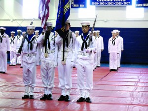 Staff photo by Mary Kemper An  Honor Guard comprised of cadets from the David McCampbell Battlion of  Naval Sea Cadets of the Navy League performed duty at the July 2  graduation of the 2016 class of summer training at Florida Prep Academy.