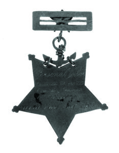 Photo courtesy of  U.S. Naval History & Heritage Command This Medal of Honor was awarded to Navy Civil War veteran Seaman Samuel Davis for 'extreme courage' while acting as a torpedo lookout aboard the USS Brooklyn during the Battle of Mobile Bay, Aug. 5, 1864.
