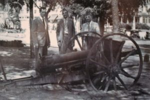 Image courtesy of the Florida Historic Capitol Museum A German field artillery piece captured during the Great War was on the grounds of the Florida Capitol until 1942. It was melted down to help the next great war effort: World War II. Pictured from left to right with the artillery piece are former governor LeRoy Collins along with the American Legion's James Hamlin and R.A. Gray, Florida's secretary of state. About 42,000 Floridians served in World War I.