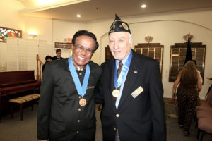 Photo by Wendy Dwyer Right, Chapel of the Four Chaplains board of directors member Larry Wapnick of Vero Beach stands with Dr. Shamsher Singh, a Port St. Lucie physician, who was the recipient of the prestigious Chapel of the Four Chaplains Legion of Honor Gold Medal, awarded to him for his selfless service in the community Feb. 5 at Temple Beth El Israel Synagogue, Port St. Lucie.